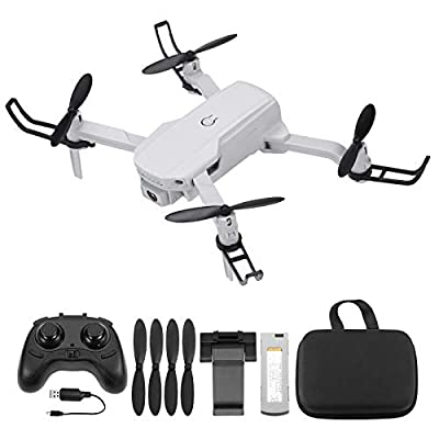 Powerextra White Drone with 720P HD Camera for Adult Drone with Camera,15 Mins Flight Time,Drone with Camera with 2.4Ghz Remote Control Headless Mode,Emergency Stop,APP control