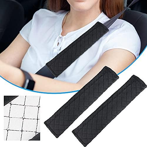 BUZIFU Protezioni Comfort per Cintura di Sicurezza Auto, 2 Pezzi Viaggio Ammortizzatori, Imbottitura Cintura di Sicurezza per Auto Bambini Adulti Fodera Protettiva Cintura (Nero)