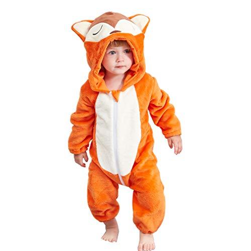 MICHLEY Bebé Ropa Mameluco Niños Niñas Pelele Pijama de Primavera y otoño Franela Traje de Animales zorro-70cm
