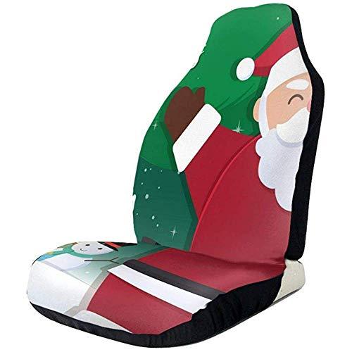 TABUE Juego completo de 2 fundas para asientos de coche, con diseño de Papá Noel y muñeco de nieve, aptas para la mayoría de los modelos de automóviles, camiones, furgonetas y furgonetas.