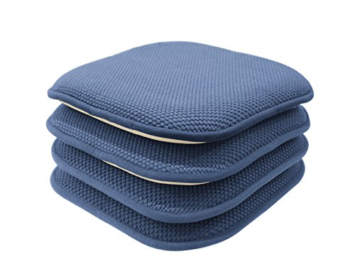 GoodGram 4 Pack Non Slip Ultra Soft Chenille Honeycomb Premium Comfort Memory Foam Chair Pads/Cushions - Assorted Colors (Blue)