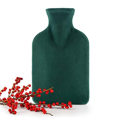Blumtal Wärmflasche mit weichem Bezug - 1,8L Wärmeflasche, Bettflasche, Wärmflasche flauschig (Grün)