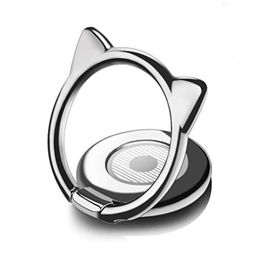 スマホリング ホールドリング マグネット高級感 落下防止リング 薄型 バンカーリング 猫耳 かわいい スタンド機能 片手操作 360回転 強力吸着 車載ホルダー対応 タブレット/スマホiPhone/Android各種他対応 (ブラック)