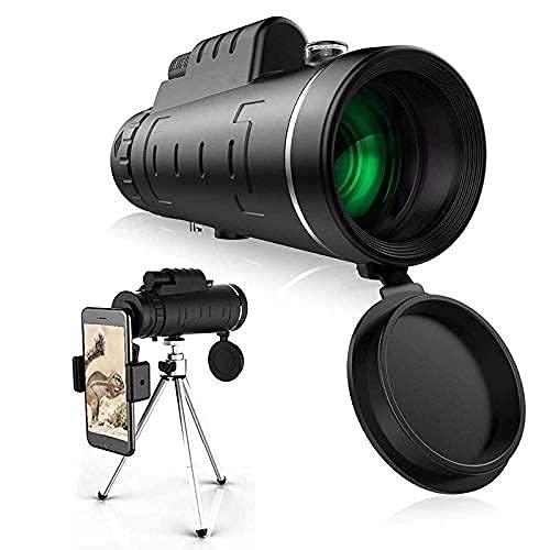 Telescopio monocular, Prisma Bak4 de Alta definición 12X50 y FMC HD con Soporte para teléfono Inteligente, trípode en U, IPX7 Resistente al Agua para observación de