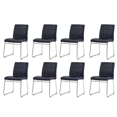 Enjowarm Dining Chairs Modern Black Faux Leather Metal Waiting Room Chairs Side Kitchen Dining Room Chair Armless Upholstered Ergonomic Office Chairs (Set of 8)