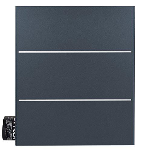 Briefkasten anthrazit mit Zeitungsfach (RAL 7016) MOCAVI Box 141 Postkasten Edelstahl-Detail V2A Wand-Briefkasten mit Zeitungsrolle groß modern deutsche Marken-Qualität DIN A4