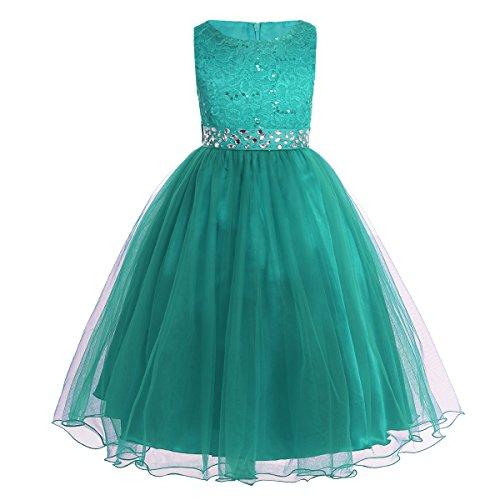 iEFiEL Mädchen Kleid festlich Lange Blumenmädchenkleider für Hochzeits Festkleid Kinder Brautjungfern Kleid 92 104 116 128 140 152 164 Grün 116