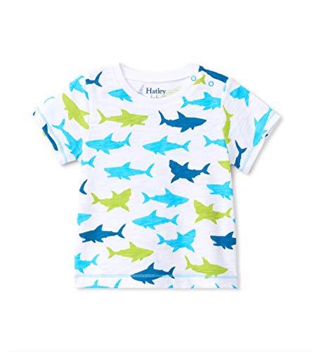 Hatley Short Sleeve T-Shirts, Blanc (Bluegreat White Shark 100), 12 Mois Bébé Fille