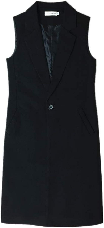 WANK Korean Coat Vest Black Long Suit Vest Jacket Female Slim Sleeveless Windbreaker Tide