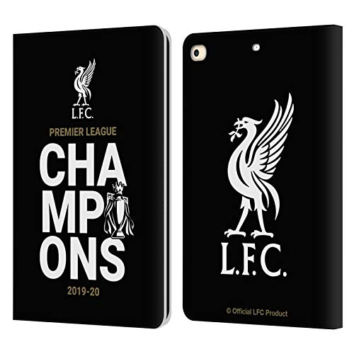 Official Liverpool Football Club Black Typography 2020 Champions PU Leather Book Wallet Case Cover Compatible For Apple iPad 9.7 2017 / iPad 9.7 2018