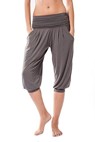 Sternitz Pantalon Fitness para Mujer, Rabi, Ideal para Hacer Pilates, Yoga y Cualquier Deporte, Tela de bambú, ecológica y Suave. Pantalón Tipo Pescador o Bombacho. Muy Cómodo (L, Gris)