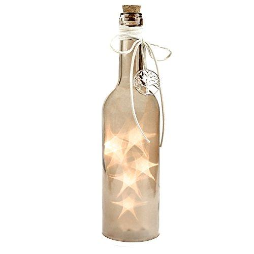 Flasche mit LED Beleuchtung, Timerfunktion, Dekoflasche, Flaschenlicht, Beige, Höhe ca. 30cm