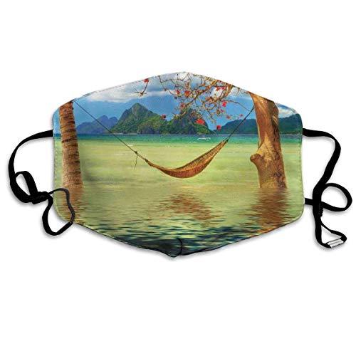 Sanitaire Cover,Beeld Van Hangmat Opknoping Tussen Bomen In De Tropische Lake Paradise Lands Art Work Gezicht Neus Cover,Drukken Half Gezicht Covers