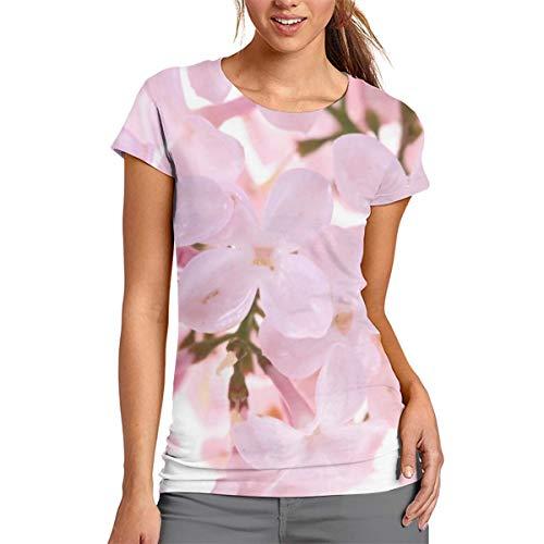 Damen-T-Shirt mit rosafarbenen Blumen, kurzärmelig, Rundhalsausschnitt, Bluse, bequem, Polyester, weiß, S