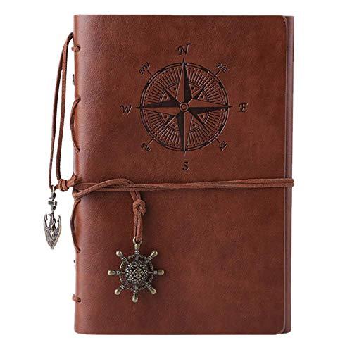 Kunstleder-Tagebuch, Notizbuch, nachfüllbar, Spiralbindung, klassisch, geprägt, Reise-Tagebuch, mit Blanko-Seiten und Retro-Anhängern, von Maleden braun
