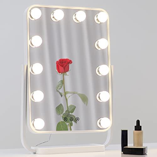 BONADE LED Hollywood Schminkspiegel mit Beleuchtung, 3500K- 6500K Dimmbar Hollywood Spiegel mit 12 LED-Glühbirnen und 3 Farbe Licht, 360° Drehbar Make-up Spiegel Tischspiegel, Weiß