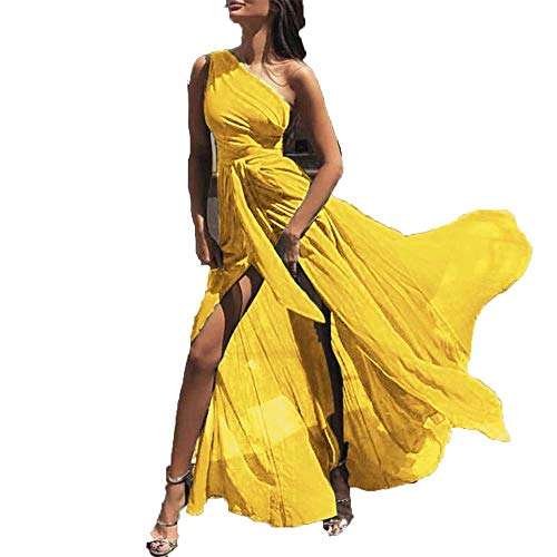 Rocke Chiffon Multicolor europäischen und amerikanischen Mode sexy hohe Taille eine Schulter schräge Schulter Schlitz Lange große Schaukel Chiffon-Kleid (Farbe : Yellow)