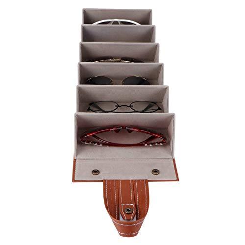 KUIDAMOS Caja de Gafas de Sol, Capa Exterior de PU, Vitrina de Gafas, Capa Interior flocada de 20,9x6,3x3 Pulgadas para Mostrar Gafas Deportivas(marrón)