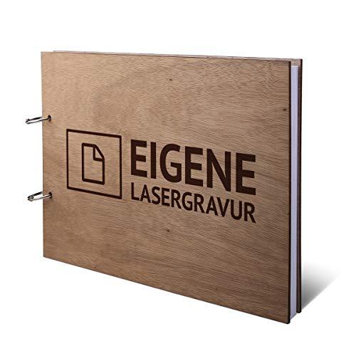 Hochzeit Gästebuch Okoume Holz Gravur individuell Holzcover mit 144 Naturpapier Innenseiten DIN A4 quer 302 x 215 mm - Eigene Gravur