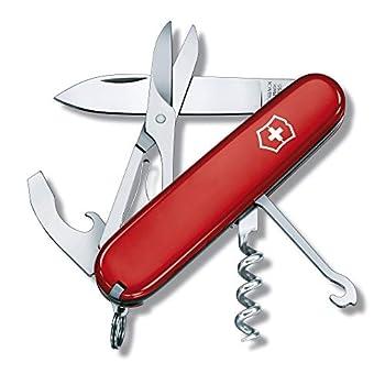 Victorinox Compact Couteau de Poche Suisse, Léger, Multitool, 15 Fonctions, Lame, Ciseaux, Tire Bouchon, Rouge