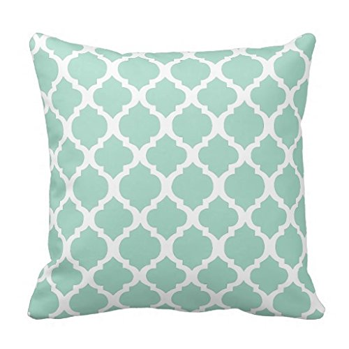 Mint Green And White Moroccan Throw Pillow Case