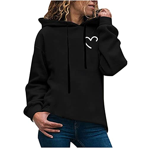 Sudadera con capucha para mujer, de manga larga, con capucha, para otoño e invierno, informal, con estampado de amor, monótono, manga larga, con bolsillo, Negro , M