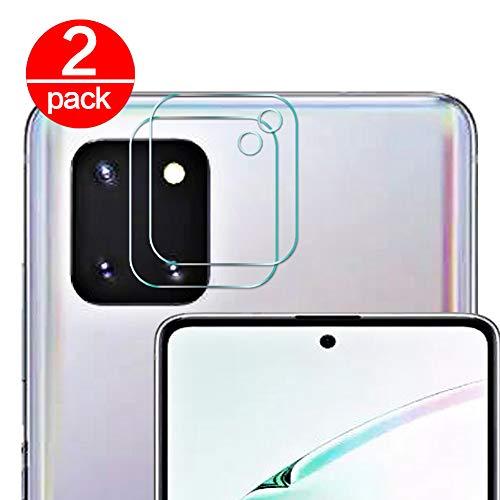 [2 Pack] Cristal Templado para Lente Cámara de Samsung Galaxy Note 10 Lite, Ultra Fino Protector 2.5D 9H de Dureza Cámara Trasera Lente Película de Pantalla