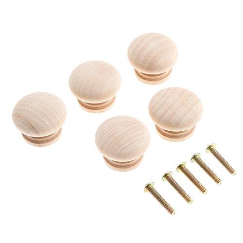 Holz Pilz Schrankgriffe Runde Mushroom Cupboard Handles mit Schrauben, Massivholz Möbelgriffe 34*25mm, Unlackierte Naturfarbe,5 Stück