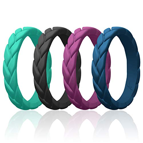 ROQ Silicone Rings for Women Multipack of 4 Womens Silicone Rubber Wedding Rings Bands Flame Leaves - Black, Dark Blue, Argaman Purple, Turquoise Colors - Size 7
