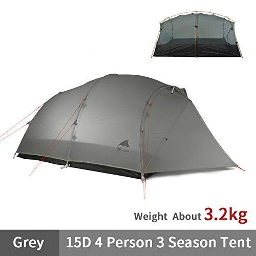 Mdsfe 3F UL GEAR QingKong 4 Person Ultralight Tent 15D/210T Large Space 3/4 Season Outdoor Hiking Tents Camping Hunting Tent-15D-3Season-Grey,A2