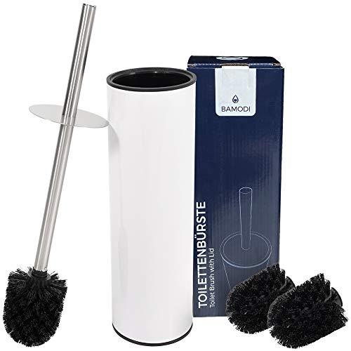 Bamodi Toilettenbürste mit Behälter Edelstahl - Klobürste montagefrei zum Aufstellen inklusive 2 Ersatzbürsten - WC Bürste mit Spritzschutz für trockene Hände - Weiß