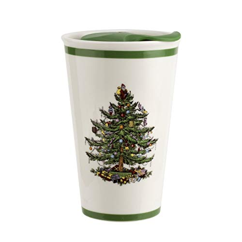 Spode Christmas Tree Travel Mug with Lid 8 Ounce