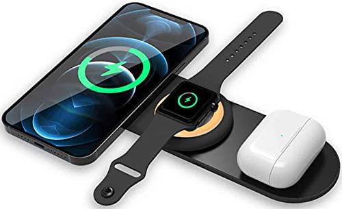 Kettles 3 en 1 Soporte de Carga inalámbrica magnética del Cargador de 15W Compatible con iPhone 12/12 Pro / 12 Pro MAX / 11/11 Pro MAX/XR/XS MAX/XS/x / 8 Plus/Galaxy S10 / S9