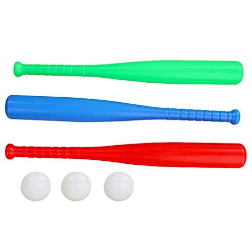 Hakka Juego de Bate de Béisbol para Niños Juego de Bate Y Pelota de Plástico Juego de 3 Bates de Béisbol Y Juego de 3 Bolas - Juego de Juguete de Béisbol para Niños Niños Niñas