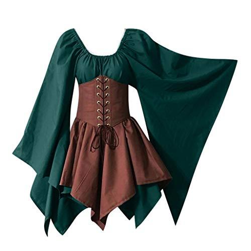 Moonuy Halloween Patchwork Dress für Frauen Dame Flare Sleeve Party Dress mittelalterlichen Cosplay kostüme Gothic Retro Langarm Korsett Dress
