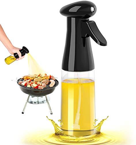 Honbuty Olive Oil Sprayer for Cooking, 210ml Oil Dispenser Bottle Spray Mister, Portable Refillable Oil Vinegar Spritzer Sprayer Bottles for Kitchen, Air Fryer, Salad, Baking, Grilling, Frying(Black)