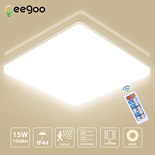 Oeegoo 15W Deckenlampe mit Bewegungsmelder, LED Deckenleuchte Einstellbar mit Fernbedienung, IP44 Wasserfest Sensorleuchte mit Radar-Bewegungssensor, 1500Lm Automatikleuchte Badlampe Neutralweiß 4000K