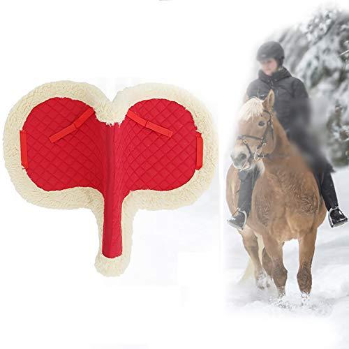 Hmpet Numnah Almohadilla para Silla de Montar a Caballo Confort Equino Polar Acolchado Suministros ecuestres Deportes al Aire Libre Equipo para Montar Almohadilla para Silla de Montar,Rojo