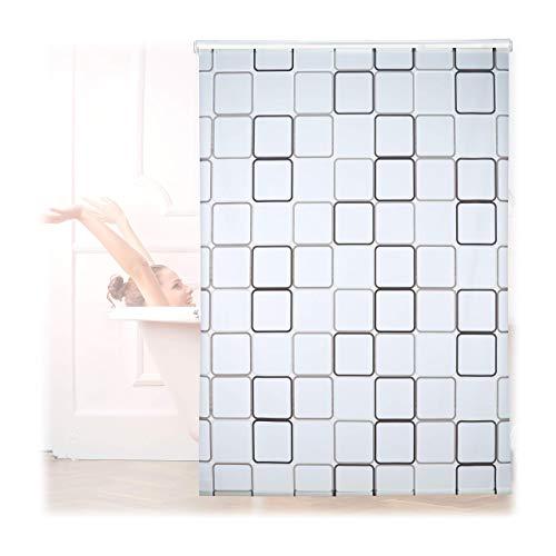 Relaxdays Duschrollo Square, wasserabweisend, Retro Badrollo Wanne u. Dusche, Deckenmontage, 160x240cm, semitransparent