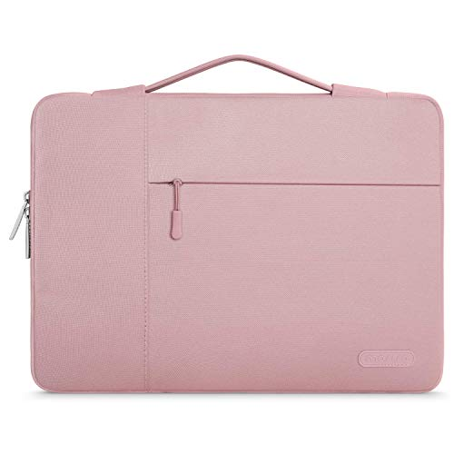 MOSISO Laptop Sleeve Case with Corner Protection Compatible with 13-13.3 inch MacBook Pro, MacBook Air, Surface Laptop 3/2/1 13.5, Lenovo Dell HP ASUS Acer, Polyester Briefcase Bag, Pink