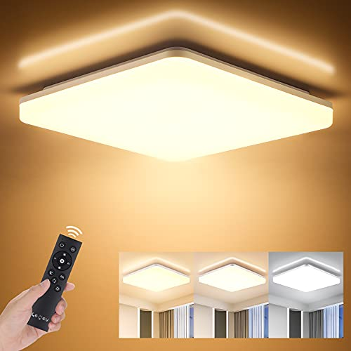 LED Deckenleuchte Dimmbar, 18W 1800LM Lichtfarbe und Helligkeit Einstellbar mit Fernbedienung, LEOEU Led Deckenlampe, IP54 Wohnzimmerleuchte für Schlafzimmer Bad Kinderzimmer Küche Büro Flur