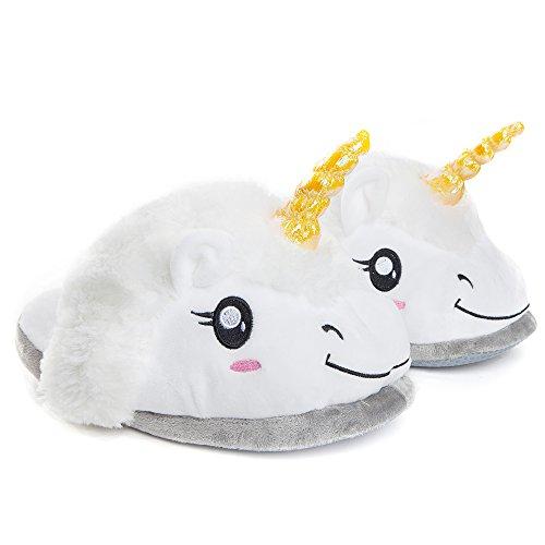 Katara 1695 Zapatillas de Felpa Unicornio Mágico - Pantuflas de Estar Por Casa Invierno - Talla unica: EU 36-44, Blanco