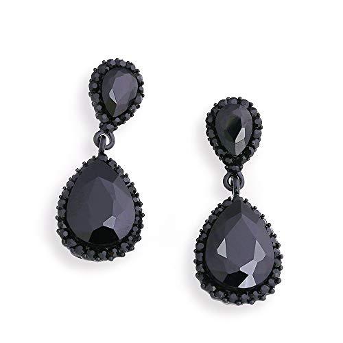 Ningz0l Oorbellen voor dames, oorsieraden, legering Europa en Amerika diamant kristallen druppels oorbel vrouwen shaped accessoires zwart