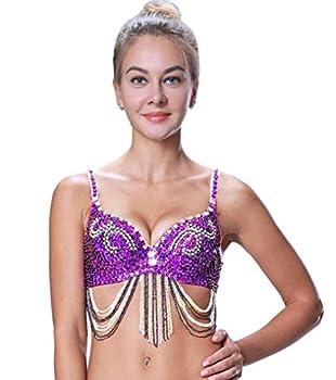 Belly Dance Top Bra Gypsy Cabaret Tribal Pole Dancer Dancing Exoctic Costume Violet