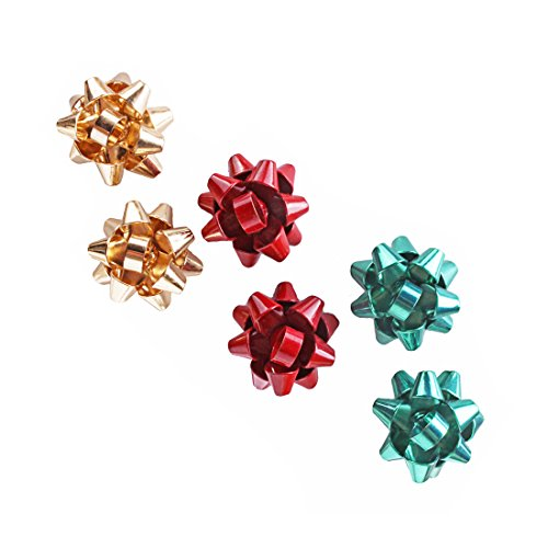 VK Accessories 3 Pair Bow Studs Christmas Girls Earrings 3 Color(Green, Golden, Red)