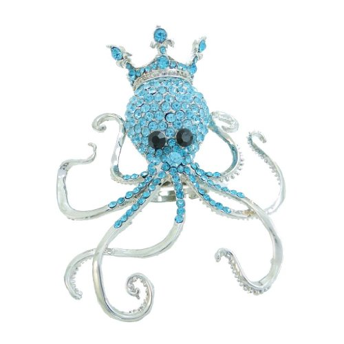 EVER FAITH Austrian Crystal Cute Crown King Octopus Adjustable Ring Bejeweled with Blue Silver-Tone