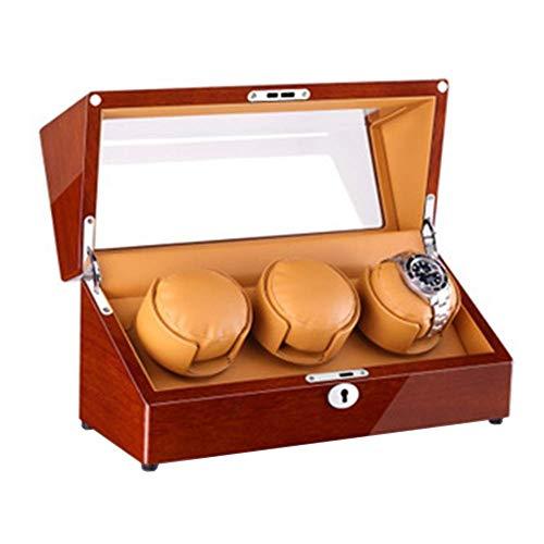 CCAN Enrollador de Reloj para Relojes automáticos Fuente de alimentación Dual Acabado de Piano de Madera Ajuste de Modo de rotación 4 Motor silencioso Happy Life