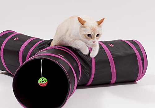 Prosper Pet Cat Tunnel - Collapsible 3 Way Play Toy - Tube Fun for Rabbits, Kittens, and Dogs - Pink