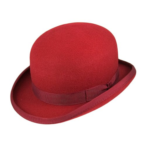 Village Hats Chapeau Melon en Laine Feutrée Rouge Christys - Large