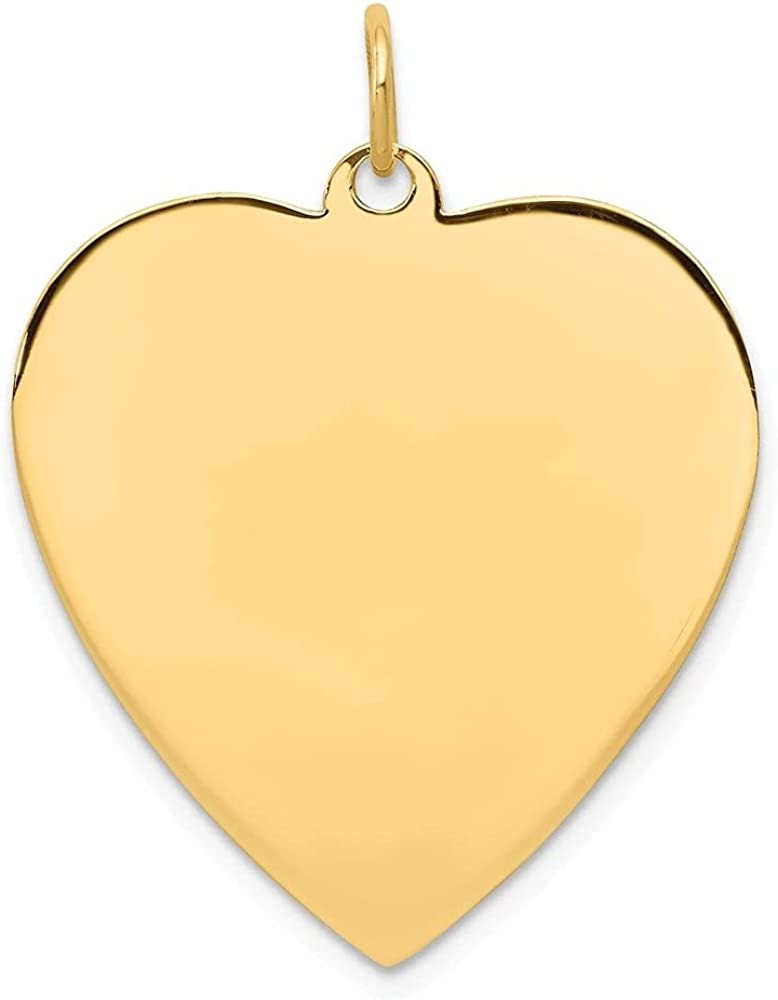 14k Yellow Gold Plain .018 Gauge Engravable Heart Disc Pendant (L- 30 mm, W- 24 mm)